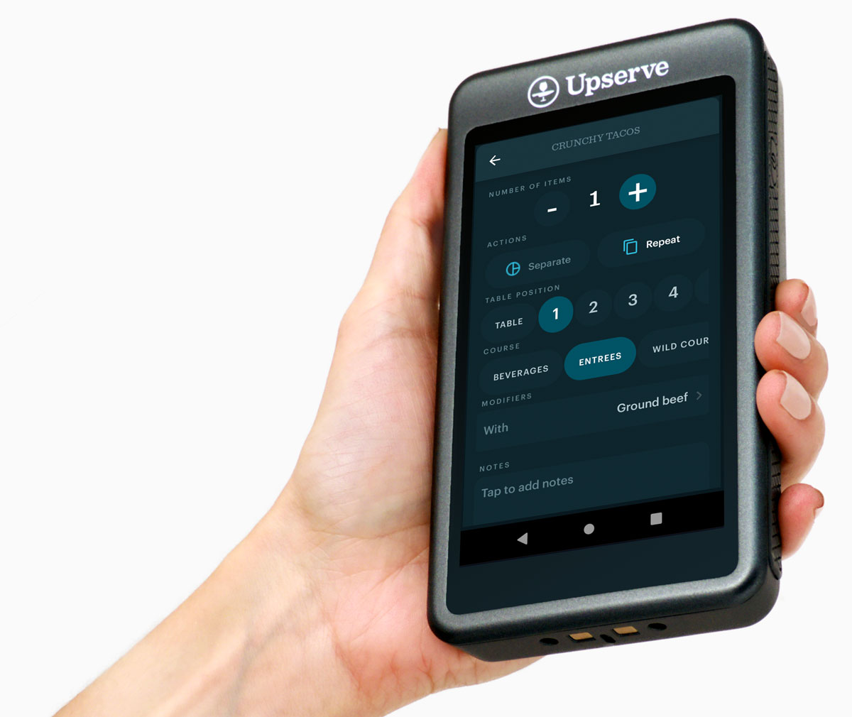 Upserve Tableside Mobile POS in server's hand