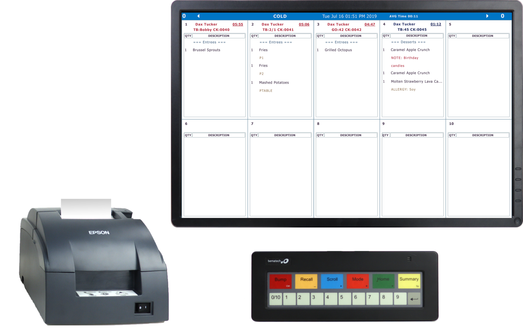 Upserve KDS with Printer and Bump Bar