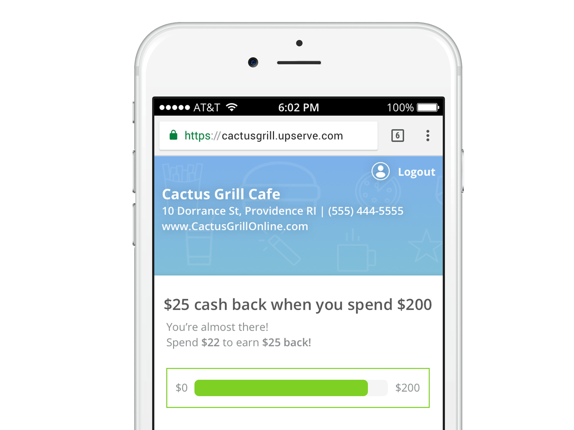 Upserve Restaurant Loyalty Program on Mobile
